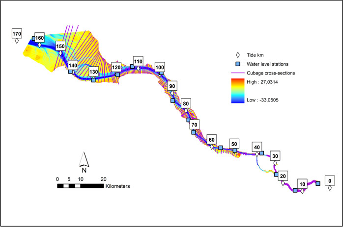 Figure 3 – Topo-bathymetry (2006), water levels (2001-2010) and cross-section used for the cubage calculation of the Elbe