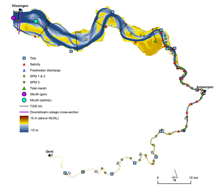 Figure 9 – Topo-bathymetry of the Scheldt estuary (2001) with indication of the different parameter locations, TIDE kilometers (i.e. distance to up-estuary boundary), and the most downstream cubage cross-section