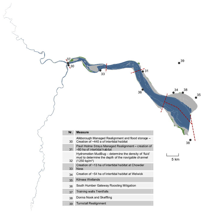 Figure 25: Locations and titles of management measures collected according to the Humber estuary with indication estuary zone borders by red lines